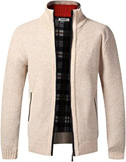 Mens Knitted Cardigan Thick Sweater Full Zip Stand Collar Warm Jumper Fleece Lined Winter Coat