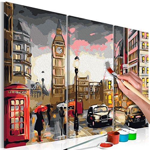 murando - Malen nach Zahlen London Stadt 60x40 cm 3 TLG Malset mit Holzrahmen auf Leinwand für Erwachsene Kinder Gemälde Handgemalt Kit DIY Geschenk Dekoration n-A-0235-d-e