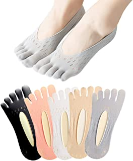 Crabitin, Calcetines de yoga para interiores, antideslizantes, para mujer, con cinco dedos de los pies, para pilates, fitness, correas cruzadas