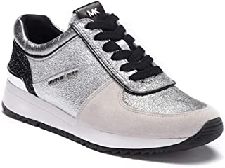 a2753b3ff7e7 Michael Michael Kors Women s Allie Trainer Sparkle Metallic Silver Sneakers