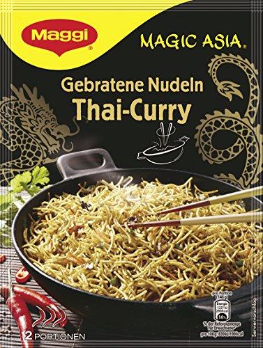 Maggi Magic Asia Gebratene Nudeln Thai Curry, asiatisches Fertiggericht, Instant-Nudeln, mit Gemüse & cremiger Kokosmilch, scharf gewürzt, 11er Pack (11 x 130g)
