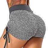 FITTOO Mallas Cortos Pantalones Deportivos Leggings Mujer Yoga Alta Cintura Elásticos Transpirablesg Fitness #1 Cordón Gris S