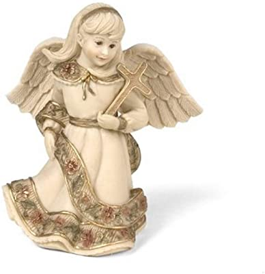 Sarah's Angels Tapestry Series Angel Holding Cross Figurine, 4-Inch