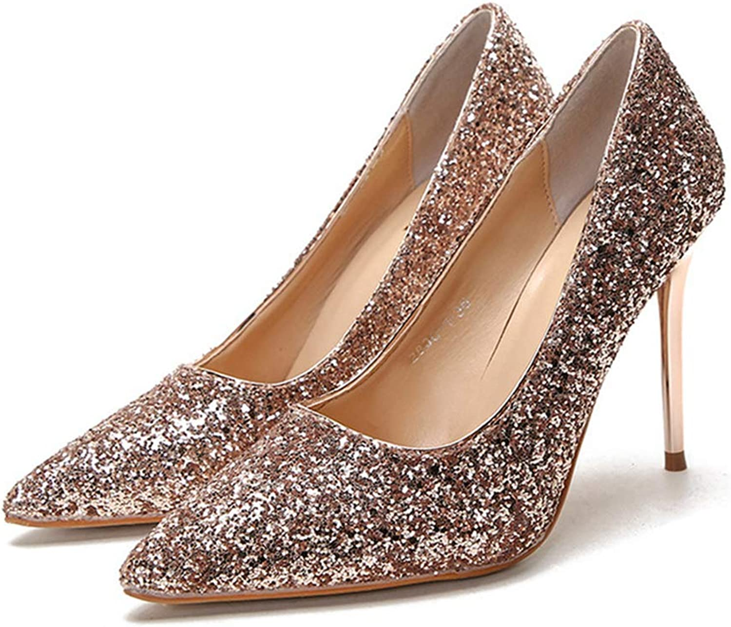 Sam Carle Womens Pumps,High Thin Heel Sexy Bling Sequined Rhinestone Nightclub Pump
