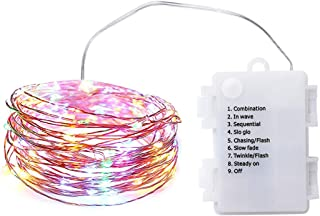 32ft Battery-Powered LED String Lights with 100 LED Lights, Waterproof Outdoor and Indoor Fairy Lights, Patio Lights, Party Lights, Dorm Room Essentials (Copper Wire Lights, Multi Color)