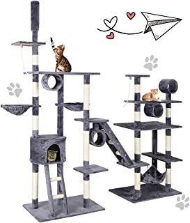Tangkula Large Cat Tree, Cat Tree House Pet Furniture, Multi-Level Activity Tower Condo, with Hammock Deluxe Scratching Posts and Rope