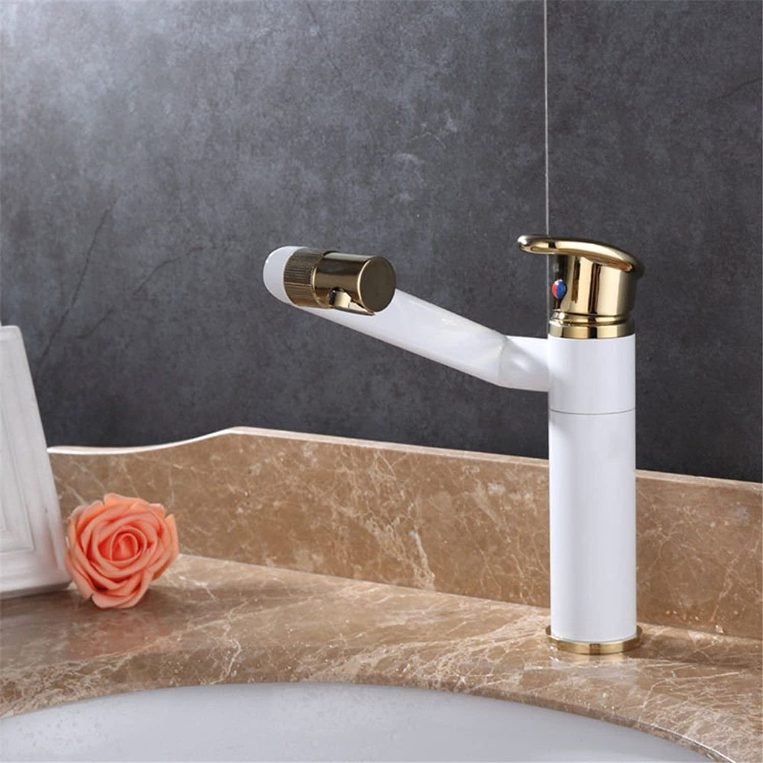 ETERNAL QUALITY Bathroom Sink Basin Tap Brass Mixer Tap Washroom Mixer Faucet The Brass Body Paint faucet single hole basin cold water tap basin vanity area with hand was