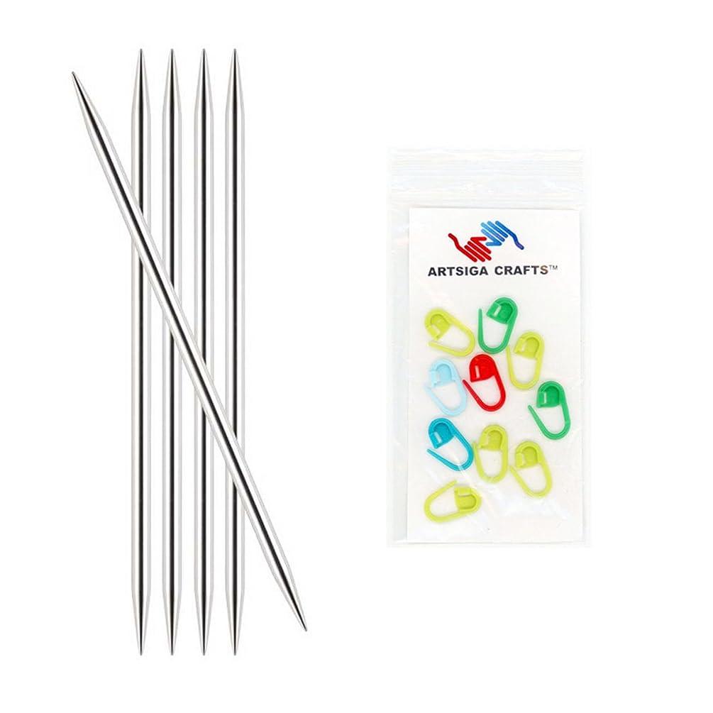 Knitter's Pride Nova Platina Double Point 6-inch (15cm) Knitting Needles (Set of 5) Size 1.5 (2.5mm) Bundle with 10 Artsiga Crafts Stitch Markers 120123