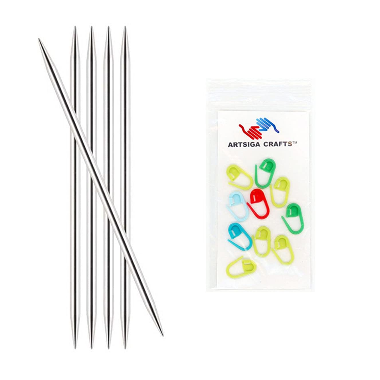 Knitter's Pride Nova Platina Double Point 6-inch (15cm) Knitting Needles (Set of 5) Size 2 (2.75mm) Bundle with 10 Artsiga Crafts Stitch Markers 120124