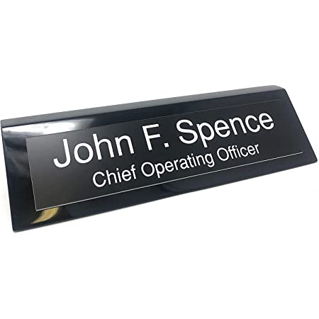 Custom Desk Name Plate Personalized 2 Lines of Engraving Choose from tons of Styles and Colors Birch Wood w//Black Text, 8 Cherry w//Card Holder