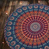 1 X Indian Mandala Round Roundie Beach Throw Tapestry Hippy Boho Gypsy Cotton Tablecloth Beach Towel, Round Yoga Mat By Rajrang