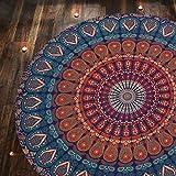 RAJRANG - Tapiz con diseño bohemio de mandala, para colgar en la pared, hecho a mano, en algodón puro, ideal para colgar en el cabecero de la cama