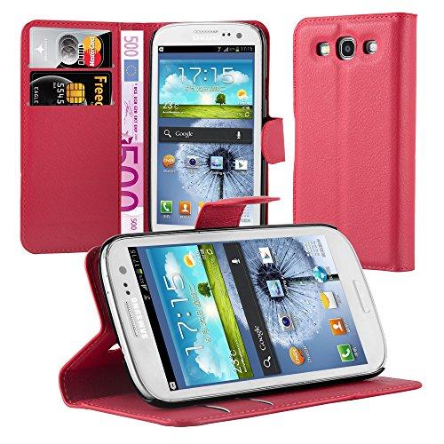 Cadorabo Custodia Libro per Samsung Galaxy S3 / S3 NEO in ROSSO CARMINIO - con Vani di Carte, Funzione Stand e Chiusura Magnetica - Portafoglio Cover Case Wallet Book Etui Protezione