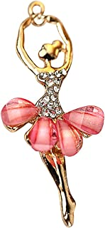 Creative DIY Pink Crystal Ballet Dancer Charms Pendants Wholesale (Set of 3) MH404