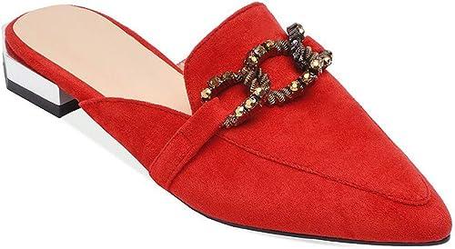 femmeschaussures Sandales pour pour pour Femmes, Baotou Sandales Bas Talon carré avec des Chaussures Femelles Pointues,C,39 480