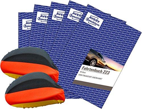 Avery Zweckform 223 Fahrtenbuch für PKW (A5, 40 Blatt) weiß 5 Stück [ WM Fan Set ] inklusive 2 Deutschland-Fahnen für Autospiegel (außen)