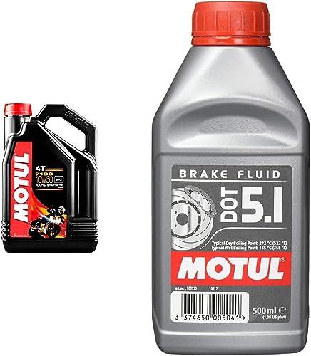Motul 104098 7100 4T 10W-50, 4 L & Liquide de Frein Dot 5.1 0.5L