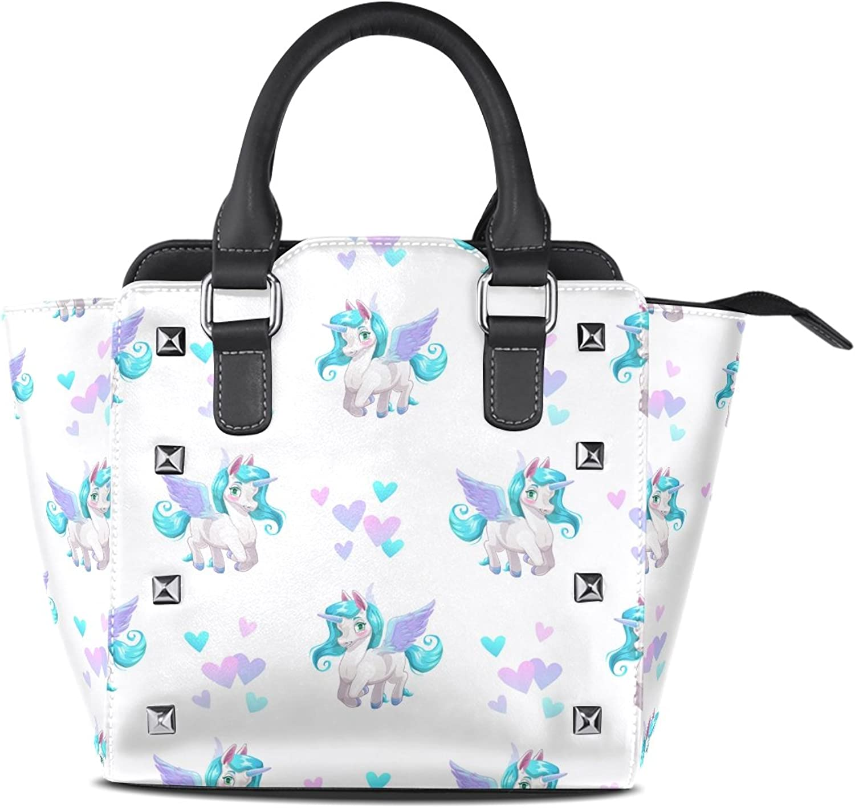 Sunlome Cute Cartoon Pegasus Print Handbags Women's PU Leather Top-Handle Shoulder Bags