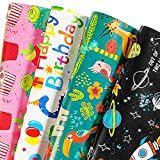 BULKYTREE Birthday Wrapping Paper - Folded Flat, 12 Sheets Happy Dinosaur, Space, Animals and Cake Design Gift Wrap for Boys, Girls, Baby Shower, Holiday - 20 x 29 Inch Per Sheet