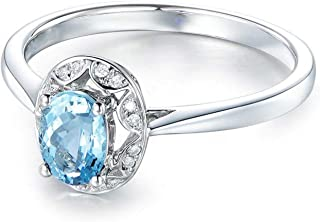 Wedding Band for Women 925 Sterling Silver Ring Oval Ring Engagement Ring Wedding with Blue Topaz