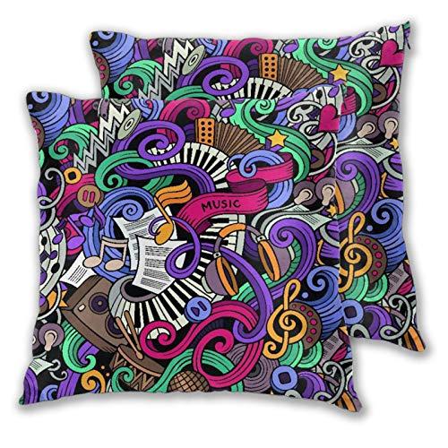 GUVICINIR Juego de 2 Fundas de cojín,Música Temática Dibujados Mano Instrumentos Abstractos Micrófono Tambores Teclado Stradivarius,Decorativa Cuadrado Suave Funda de Almohada Sofá Sillas Cama,45x45cm