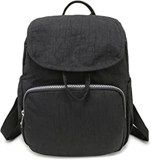 Small Nylon Backpack Waterproof Mini Backpacks Fashion Lightweight Outdoor Travel Bags for Women Daypack for Girls - Black