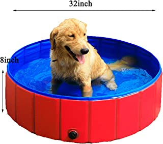 GRULLIN Pet Swimming Pool Portable Foldable Pool Dogs Cats Bathing Tub Bathtub Wash Tub Water Pond Pool