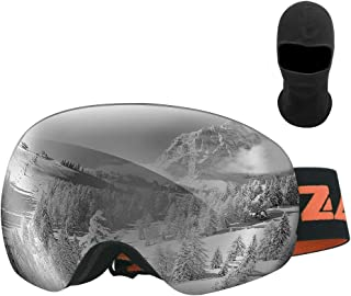 Zacro Ski Goggles -Large Spherical Framless Snowboard Goggles for Men and Women,OTG Double Lens Goggles for Skiing Snowboarding, Snowmobile, 100% UV400 Protection and Anti-fogging