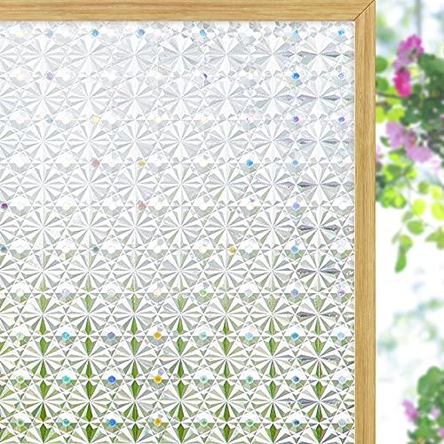 Coavas - Pellicola per finestra con caleidoscopio, pellicola per finestra in vetro smerigliato, adesivo opaco per finestre per cucina, bagno e casa, 44 x 200 cm