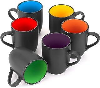 لیوان قهوه 6 بسته ای ، فنجان قهوه سرامیکی Farielyn-X 16 اونس ، لیوان قهوه سیاه بزرگ ، فنجان قهوه رستوران برای قهوه ، چای ، کاپوچینو ، کاکائو ، غلات ، مشکی مات بیرون و رنگارنگ در داخل