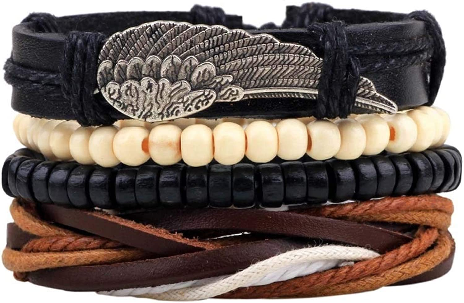 Zicue Stylish Charming Bracelet Exquisite Ornaments Unisex PU Leather Hemp Cords Beaded Multi StrandsWrap Adjustable Bracelets Set (7.6 inches) ( color   10 )