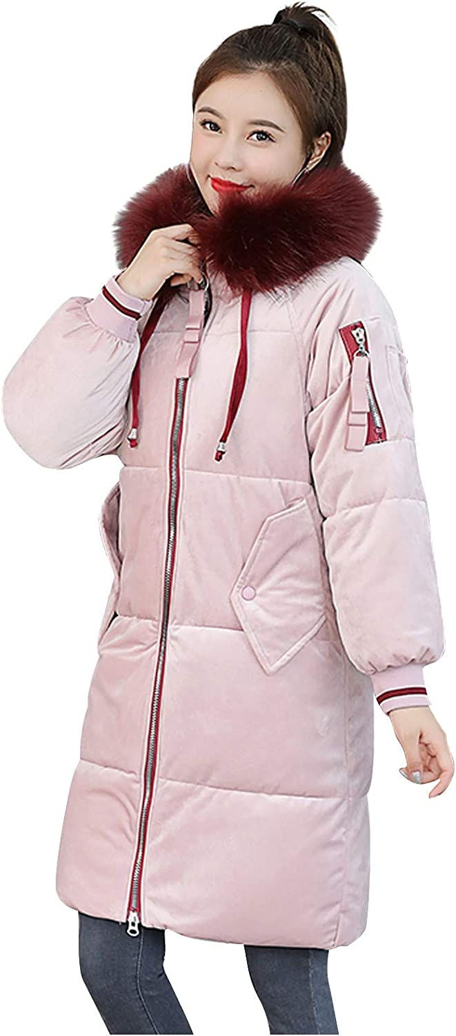 FUNEY Removable Outwear Ladies Warm Coat Long Padded Slim Down Coat with Fur Hood Puffer Jacket for Women