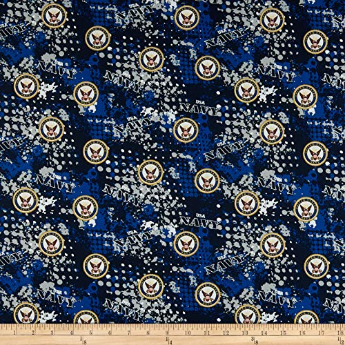 Sykel Enterprises Military Navy Abstract Geometric Allover Fabric, Multicolor, Fabric By The Yard