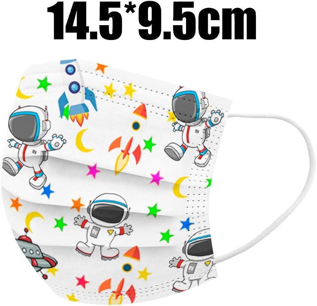 50 Stück Kinder Einweg 3-lagig,Face Shield für Kinder Children, mit süßem Dinosaurier-Druckmuster, Fashion Outdoor Elastic Ear Loop Face Bandanas Astronaut 50pcs