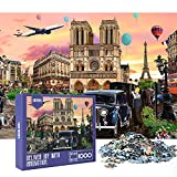 HXMARS Jigsaw Puzzles 1000 Pieces for Adults - Notre Dame Cathedral Large Puzzles Game for Family DIY Mural Toys Gift Cool and Challenge, Illustrated Art with French Famous Landmark