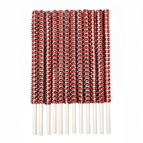 Rhinestone Bling Paper Sticks for Lollipop Cake Pop Apple Candy Buffet Treat Party Favor 6 inch (Red, 24)