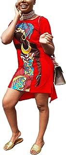 Womens Summer T-Shirt Mini Dress - Casual Juniors Sexy Short Sleeve Tunic African Print Dresses