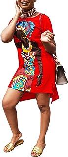 OLUOLIN Womens Summer T-Shirt Mini Dress - Casual Juniors Sexy Short Sleeve Tunic African Print Dresses