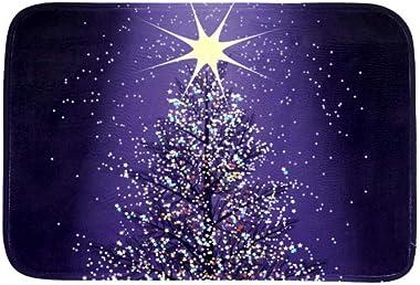 EGGDIOQ Doormats Purple Christmas Tree Custom Print Bathroom Mat Waterproof Fabric Kitchen Entrance Rug, 23.6 x 15.7in