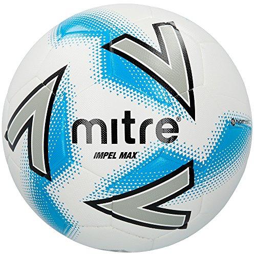 Mitre Impel Max Ballon de Football Mixte Adulte, Blanc Argent Bleu, Taille 3