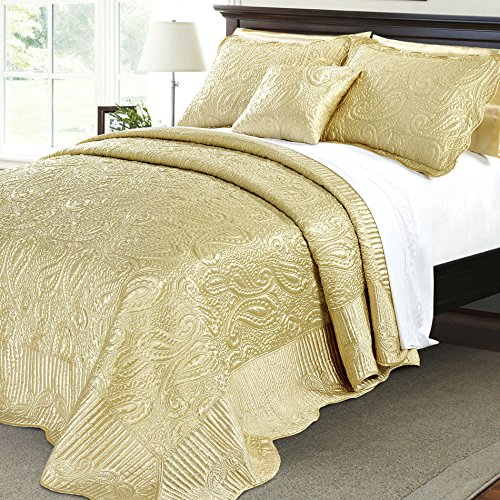 Home Soft Things Serenta Quilted Satin 4 Piece Bedspread Set, Queen, Gold