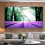 ganlanshu Lavendel Wald Landschaft Leinwand Natur Landschaft Blume Ölgemälde Dekoration rahmenlose Malerei 31cmX42cm