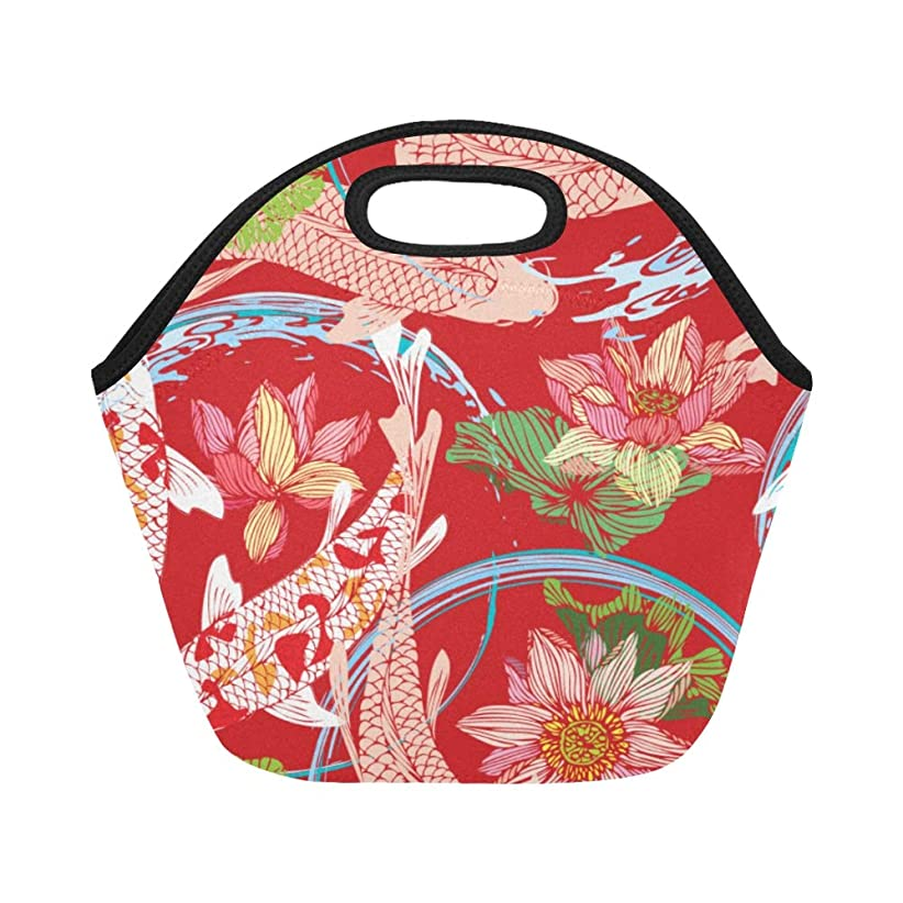 テロ楽な浪費DMHYJ ランチバッグ 赤い 春 和風の花 弁当袋 お弁当入れ 保温保冷 トート 弁当バッグ 大容量 トートバッグ