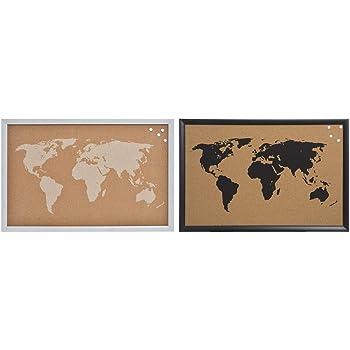 Tablero de mapa del mundo 60x40CM con 10 chinchetas rojas y transparentes Navaris tablero de corcho Pizarra de corcho con dise/ño de mapamundi