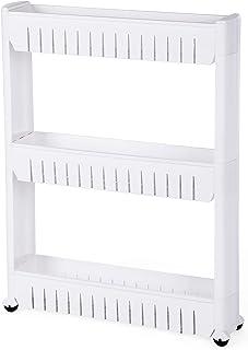 SONGMICS Estante para Hogar y Baño Carrito de Cocina Estantería de Cocina 3 Niveles 725 cm Blanco KTR03W