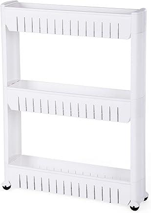 SONGMICS 3 Niveles para Hogar y Baño Estante, Carrito de Cocina, Estantería de Cocina 72,5 cm Blanco KTR03W