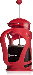 French Press Coffee & Loose Leaf Tea Maker, Red (8 Cup, 34 oz, 4 Mug), Heat-Resistant Glass, Bonus Filter, Spoon