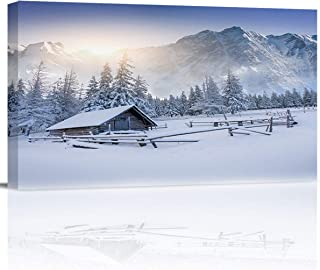 Arts Language Canvas Print Wall Art Snow Mountain Old Snowy Farmhouse Picture Painting Modern Giclee Framed Artwork for Office/Livingroom/Bedroom/Office Decor 12x24in