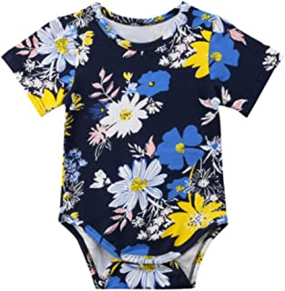 ae4ff5f02b60 Yikey Newborn Infant Baby Girls Boys Short-Sleeved Floral Print Jumpsuit
