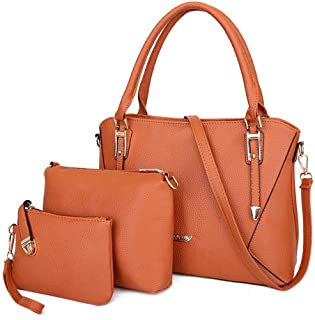 Women's Shoulder Bag Portable 3 Set Satchels Top Handle Shoulder Crossbody Bags (Color : Brown, Size : L)